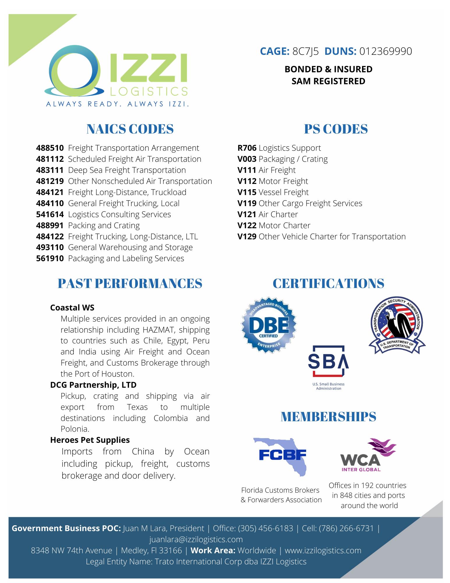 IZZI Logistics Capability Statement